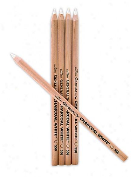 Купить белый угольный карандаш general`s charcoal white #558, артикул 4497400558